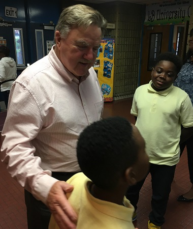 MHEC Secretary Dr. James Fielder took items that were collected for Lockerman-Bundy Elementary School and spent time with the students