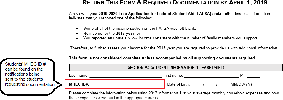 How to complete the ga verification forms section a of the verification worksheet require demographic information for the student as well as the mhec id number which a student can find by viewing ibookread Read Online